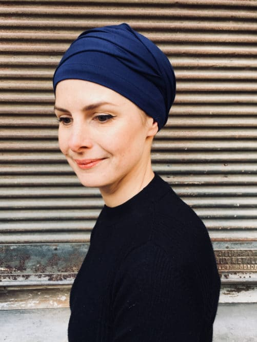turban-chimiothérapie-foudre-bleu-marine-elegant