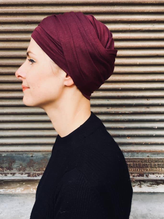 turban-chimiothérapie-foudre-bordeaux-elegant