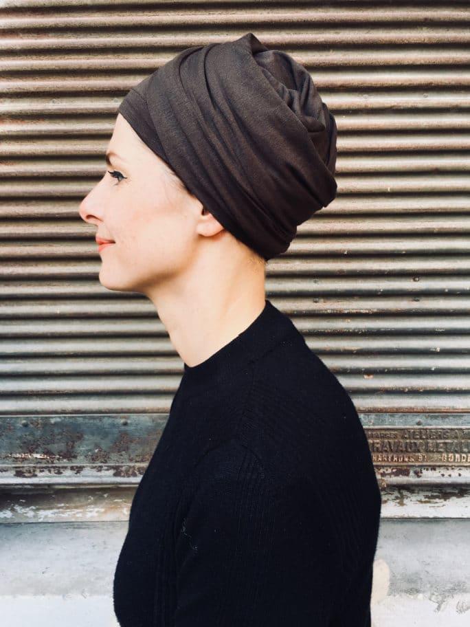 turban-chimiothérapie-foudre-marron-elegant