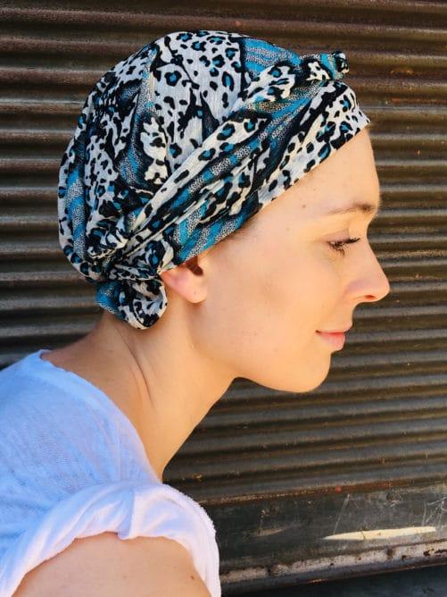 bandeau_chimiotherapie_pelade_alopecie_leopard_bleu