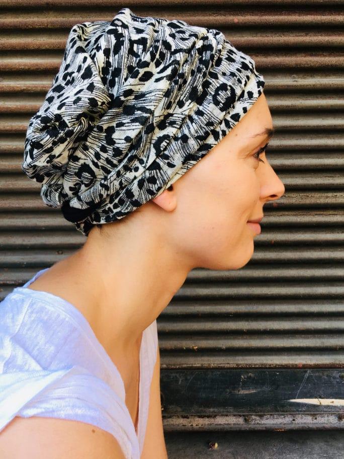 bandeau_chimiotherapie_pelade_alopecie_leopard_blanc