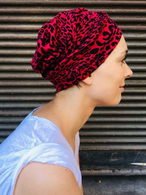 bandeau_chimiotherapie_pelade_alopecie_leopard_fushia