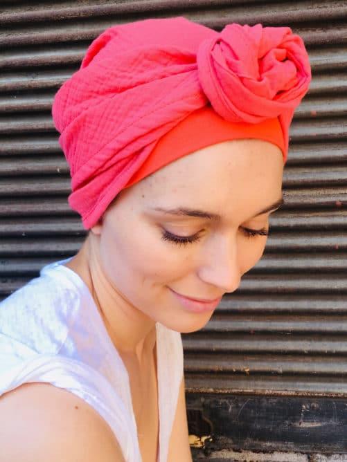 foulard_chimiotherapie_coton_corail