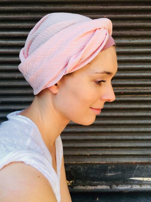 foulard_pelade_alopecie_coton_rose