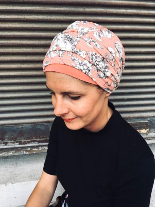 Ensemble de foulards pour chimiothérapie rose à fleurs blanches