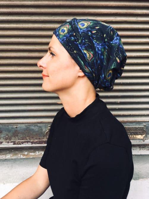bandeau chimiothérapie à scratch à motif plumes de paon