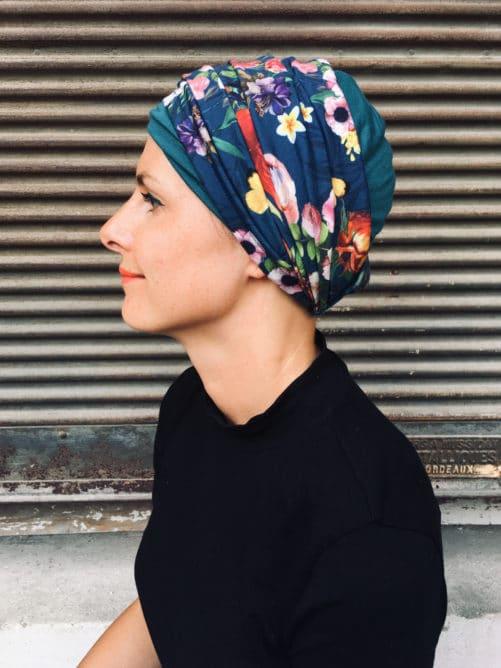 ensemble de bonnet et bandeau pour chimiotherapie à fleurs bleu