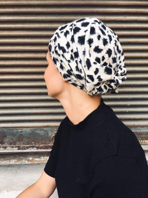 bandeau pour chimio à scratch motif leopard fauve