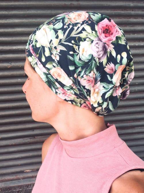 Bandeau à scratch pour chimiothérapie bleu pastel à fleurs multicolores