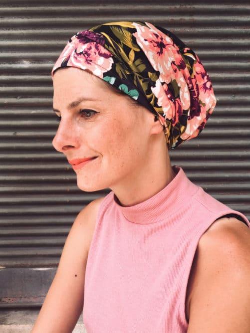 Bandeau à scratch pour chimiothérapie à fleurs violet et rose