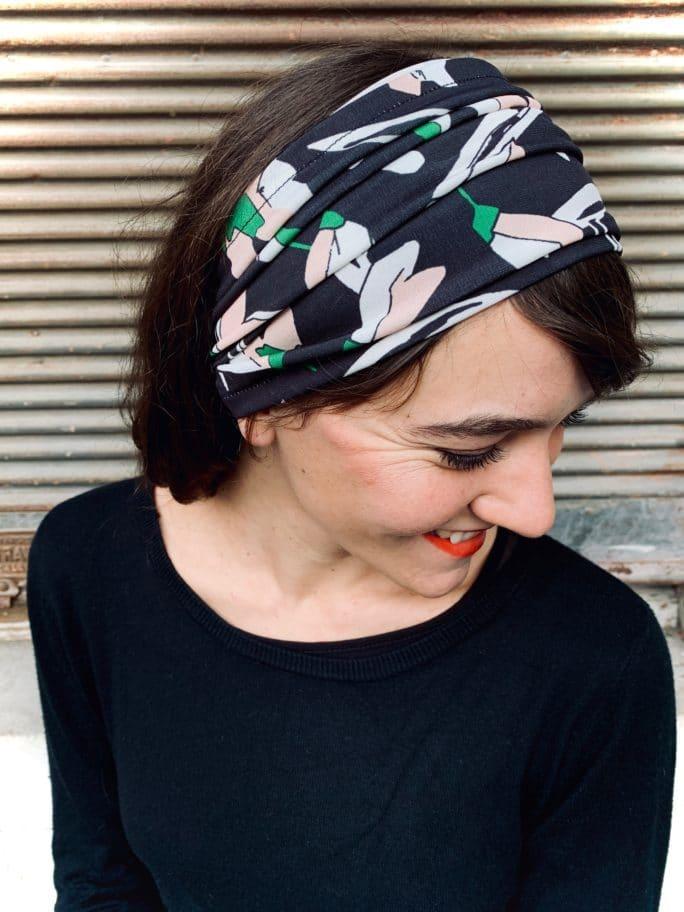 bandeaux à cheveux pour alopécie noir à fleurs pastelles