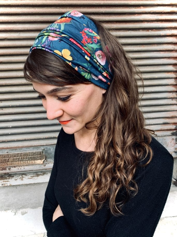 bandeau à cheveux large pour pelade à fleurs bleu