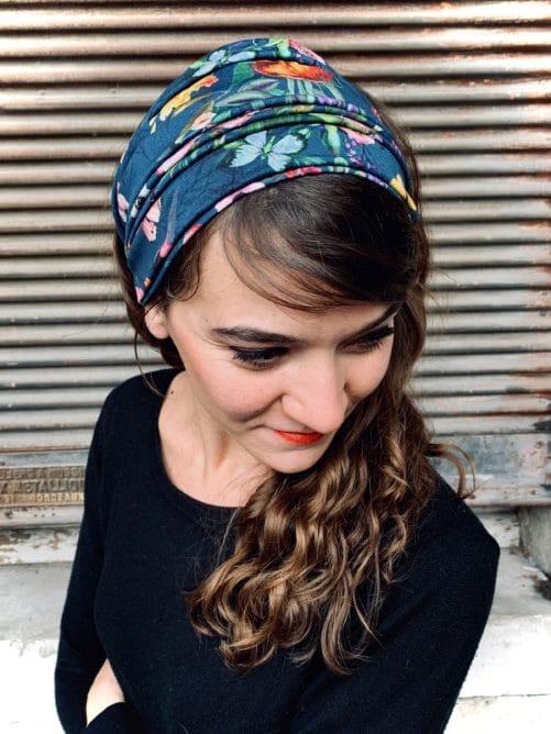 bandeau à cheveux en coton pour alopécie à fleurs bleu