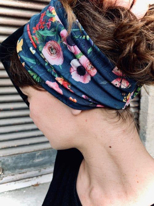 bandeau à cheveux en coton pour pelade fleuri bleu