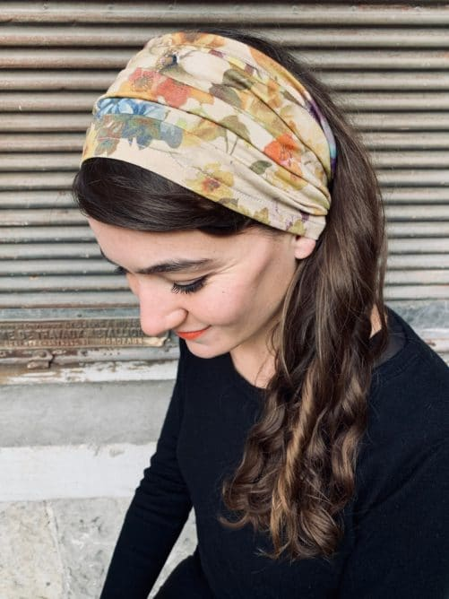 bandeau à cheveux pour pelade à fleurs beige
