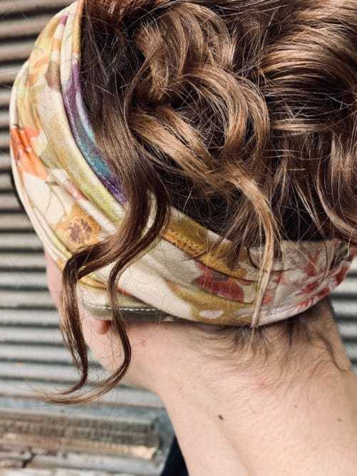 bandeau à cheveux doux pour alopécie à fleurs ocre