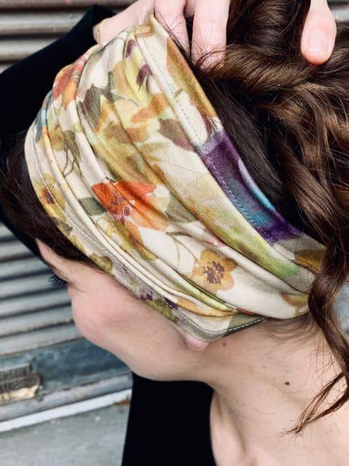 bandeau à cheveux doux pour pelade à fleurs ocre