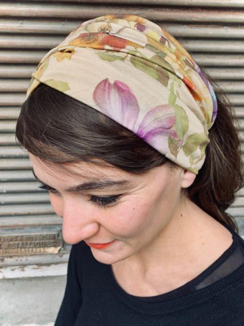 bandeau à cheveux pour pelade et alopécie à fleurs ocre