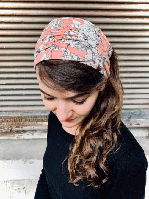 bandeaux à cheveux large pour alopécie à fleurs pêche