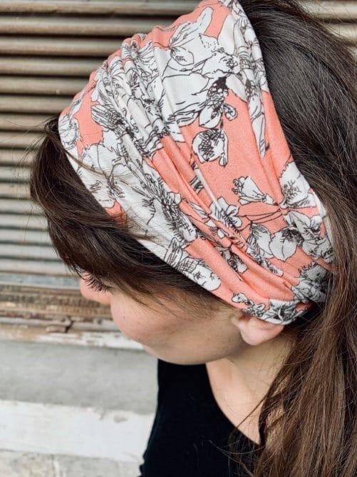 bandeau à cheveux pour pelade et alopécie fleuri pêche