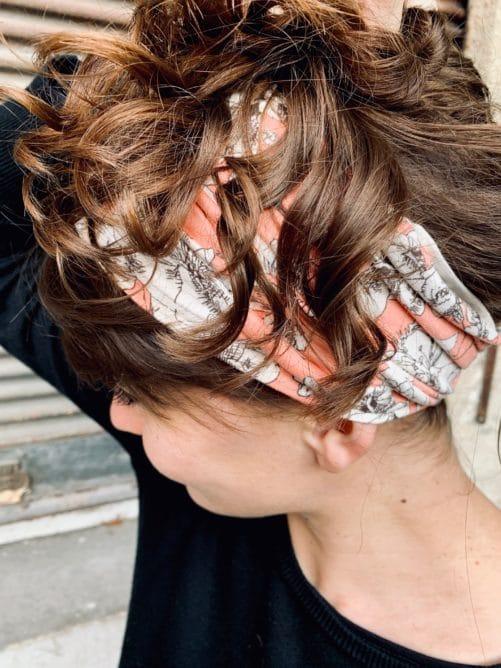 bandeau à cheveux pour alopécie à fleurs pêche