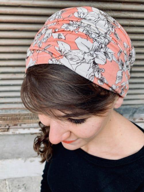bandeau à cheveux pour pelade à fleurs pêche