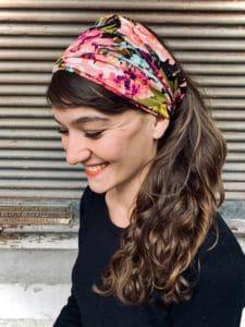 bandeau à cheveux pour pelade et alopécie à fleurs violet