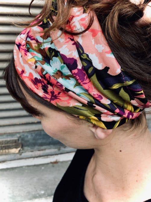 bandeau à cheveux facile à mettre en coton à fleurs violet