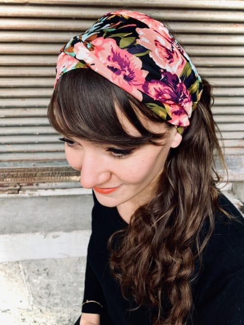 bandeau à cheveux en coton confortable à fleurs violet
