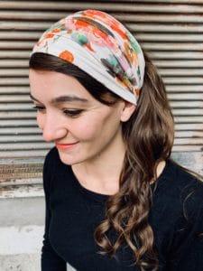 bandeau à cheveux large pour alopécie à fleurs aquarelle