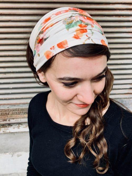bandeau à cheveux large pour pelade à fleurs aquarelle