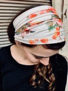 bandeau à cheveux large pour pelade et alopécie à fleurs aquarelle