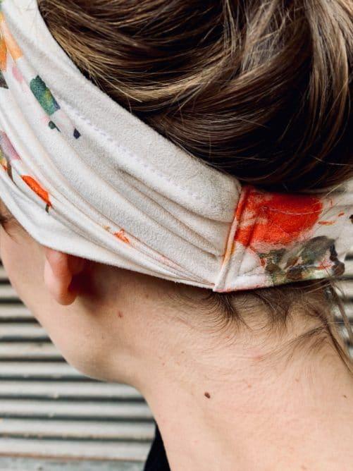 bandeau à cheveux pour pelade et alopécie à fleurs aquarelle