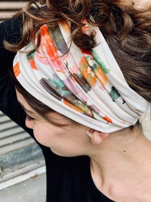 bandeau à cheveux pour alopécie à fleurs aquarelle