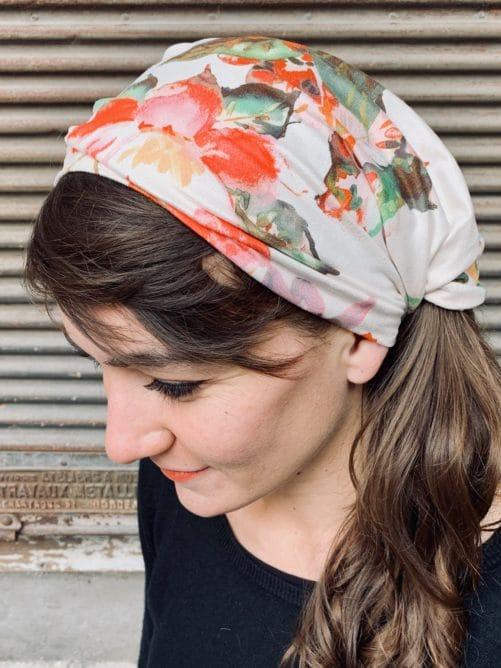 bandeau à cheveux pour pelade à fleurs aquarelle