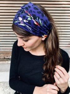bandeau à cheveux pour alopécie en coton léopard bleu
