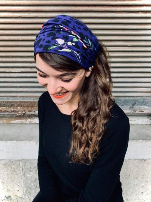 bandeau à cheveux pour pelade et alopécie en coton léopard bleu