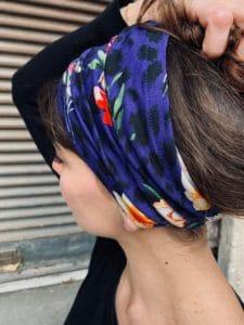 bandeau à cheveux pour pelade en coton léopard bleu