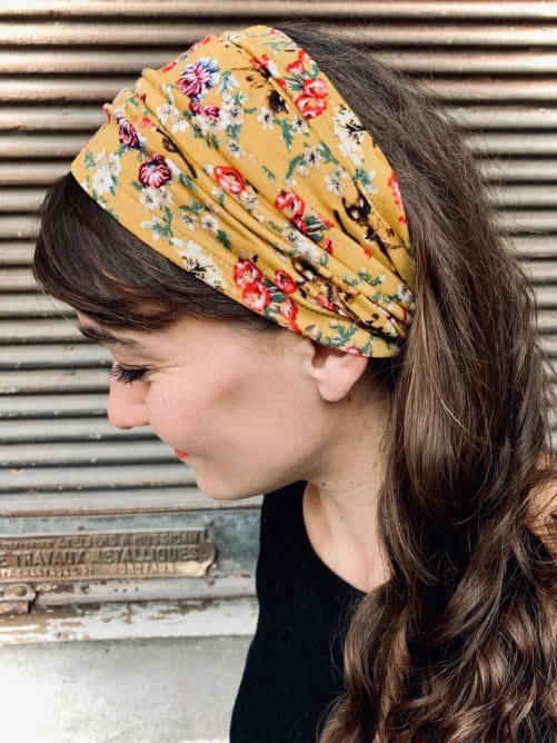 bandeau à cheveux confortable pour pelade à fleurs liberty jaune