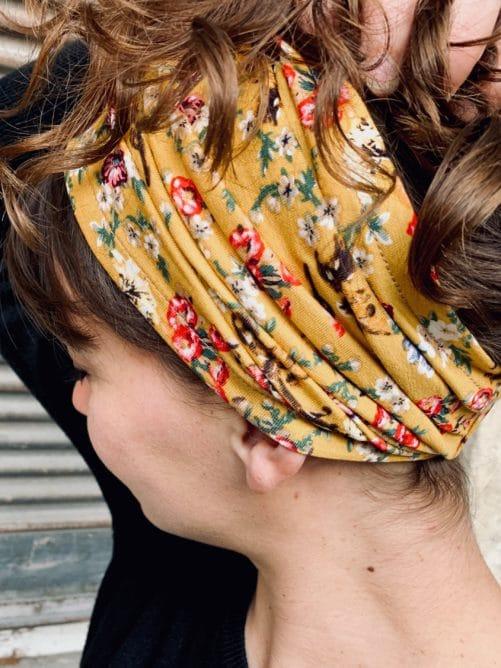 bandeau à cheveux pour pelade à fleurs liberty jaune