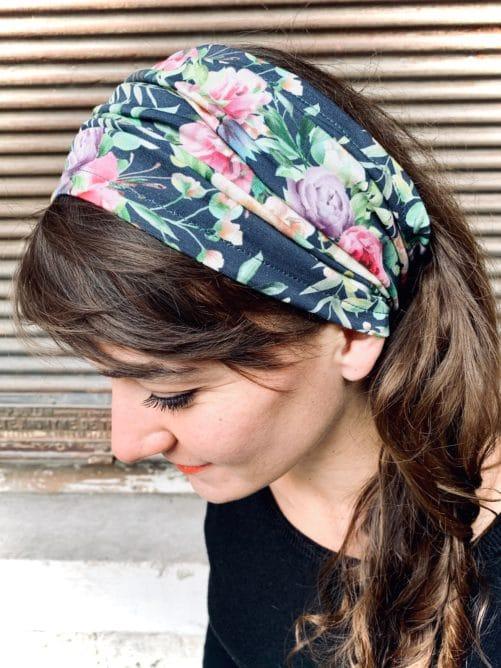 bandeau à cheveux pour alopécie à fleurs liberty bleu