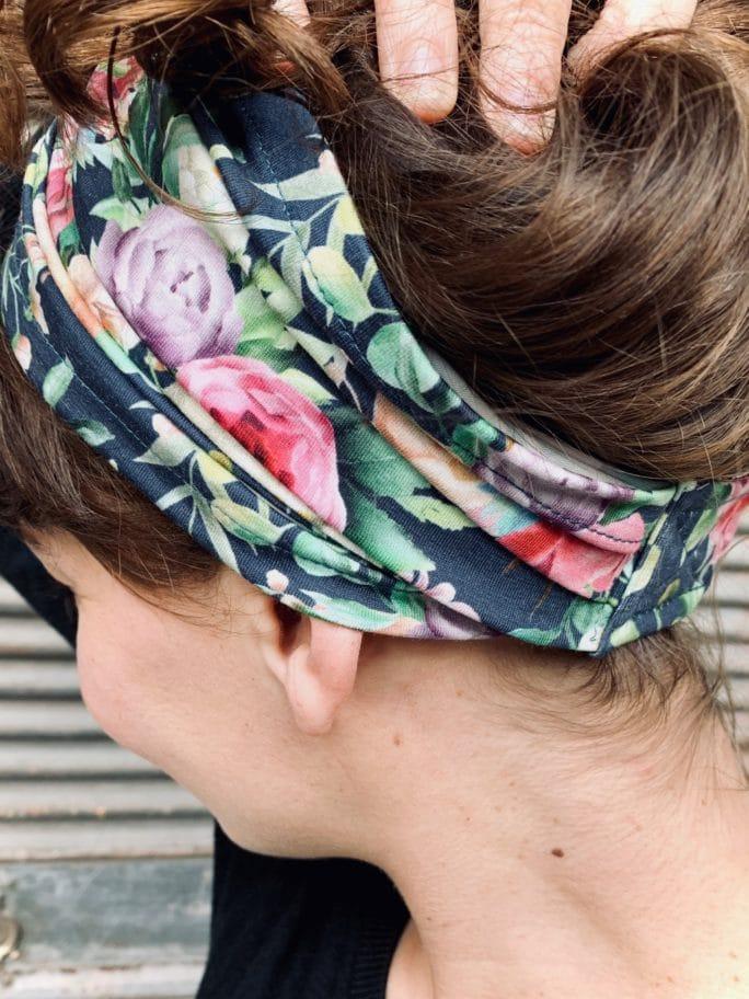 bandeau à cheveux en coton pour alopécie à fleurs liberty bleu