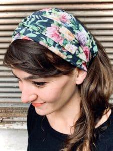 bandeau à cheveux en coton pour pelade à fleurs liberty bleu