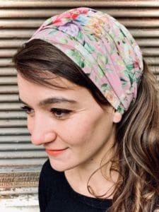 bandeau à cheveux en coton large à fleurs liberty rose