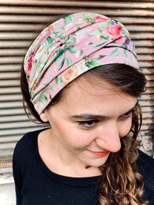 bandeau à cheveux large pour pelade et alopécie en coton fleuri rose