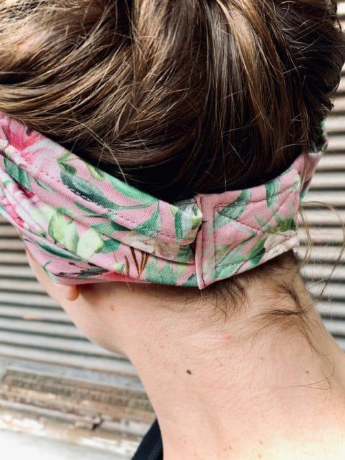 bandeau à cheveux en coton pour pelade à fleurs liberty rose