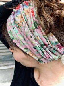 bandeau à cheveux pour alopécie à fleurs liberty rose
