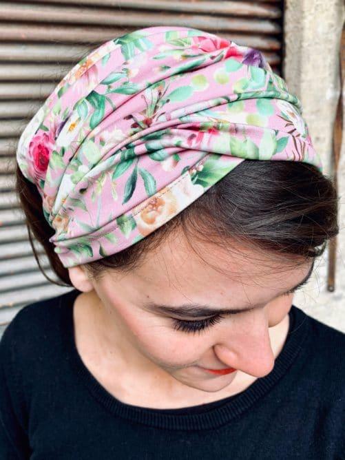 bandeau à cheveux en coton pour pelade à fleurs rose
