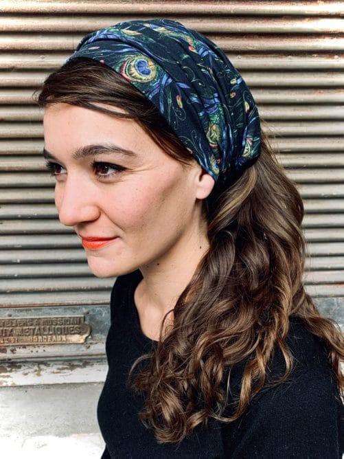 bandeau à cheveux pour pelade et alopécie en coton motif plumes de paon