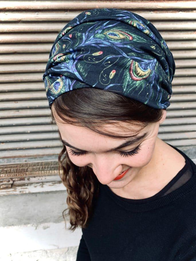 bandeau à cheveux pour pelade motif plumes de paon